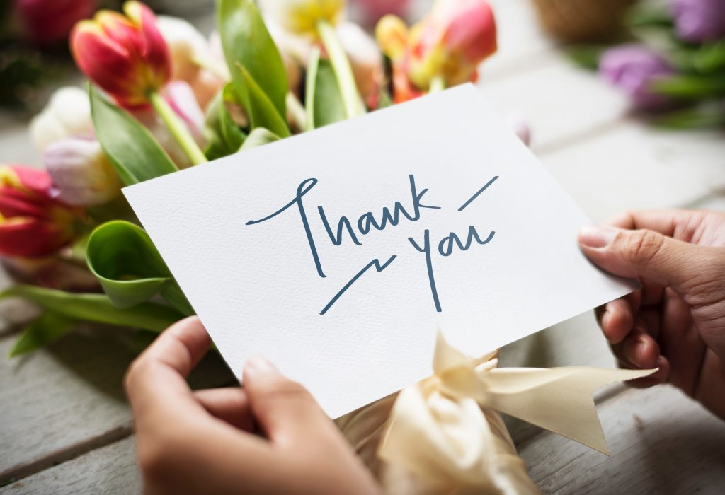 Image of thank you card with tulips